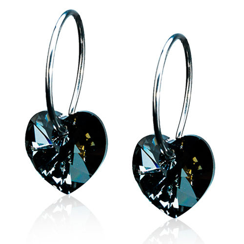 Blomdahl Heart Black Diamond korvakorut Natural Titanium 10 mm
