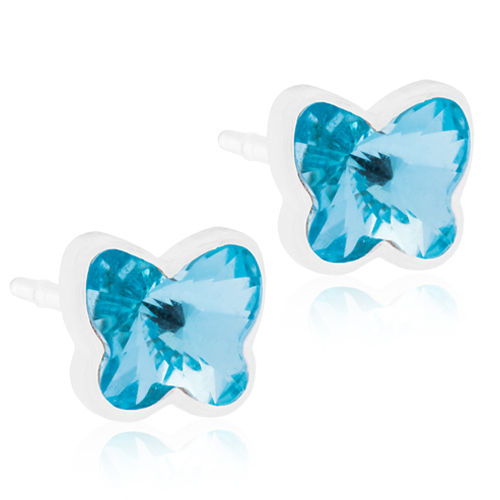 Blomdahl Butterfly Aquamarine korvakorut Medical Plastic 5 mm