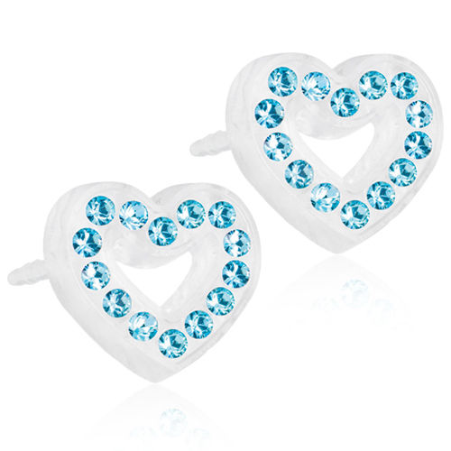 Blomdahl Brilliance Heart Hollow Aquamarine korvakorut Medical Plastic 10 mm